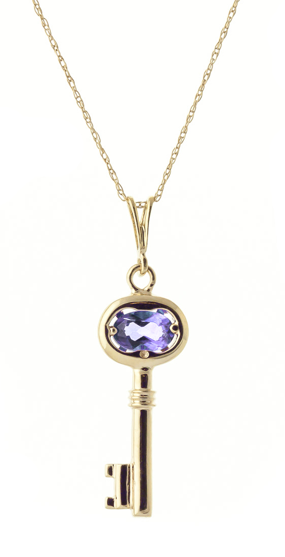Tanzanite Key Charm Pendant Necklace 0.5ct in 9ct Gold