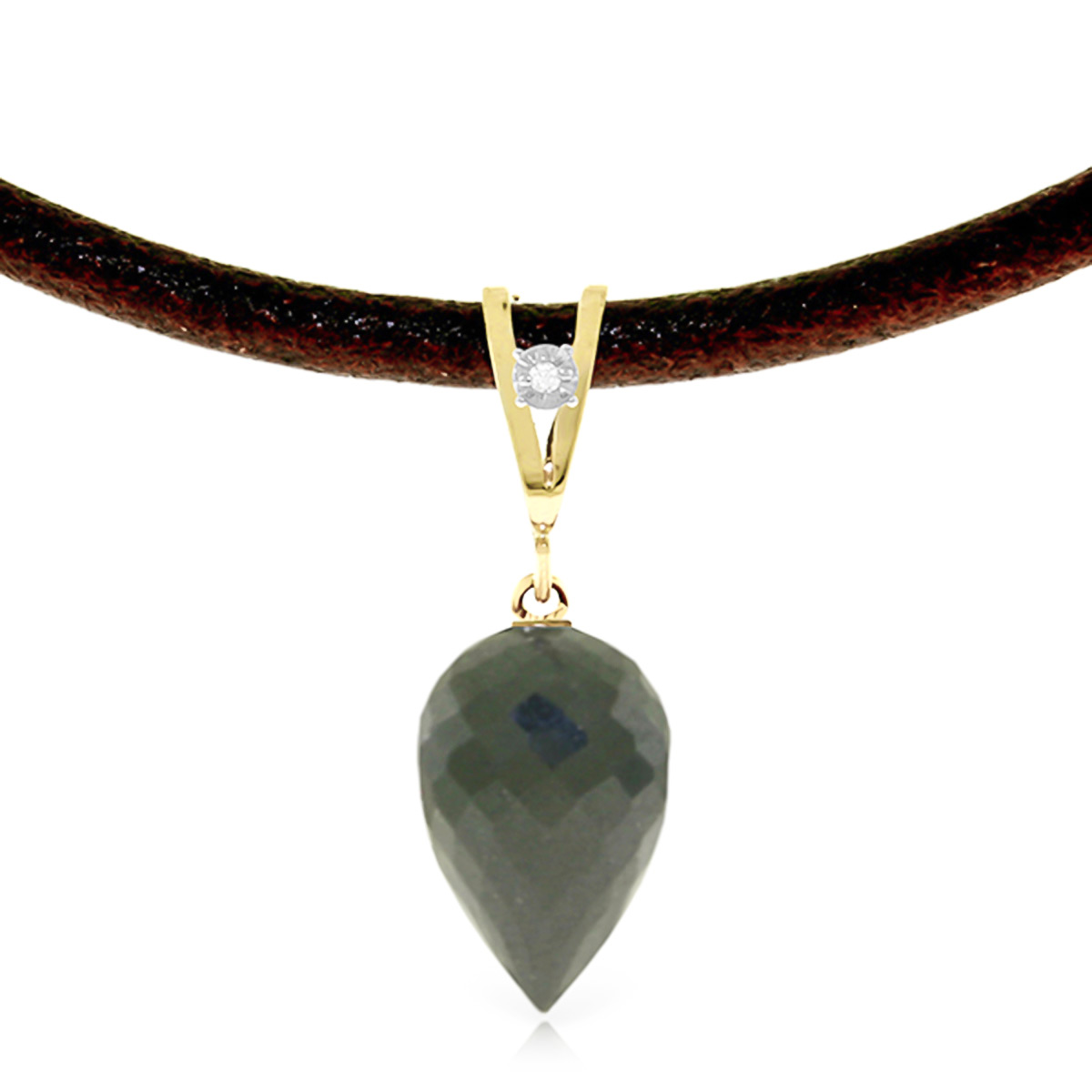 Black Spinel and Diamond Leather Pendant Necklace 12.25ct in 9ct Gold
