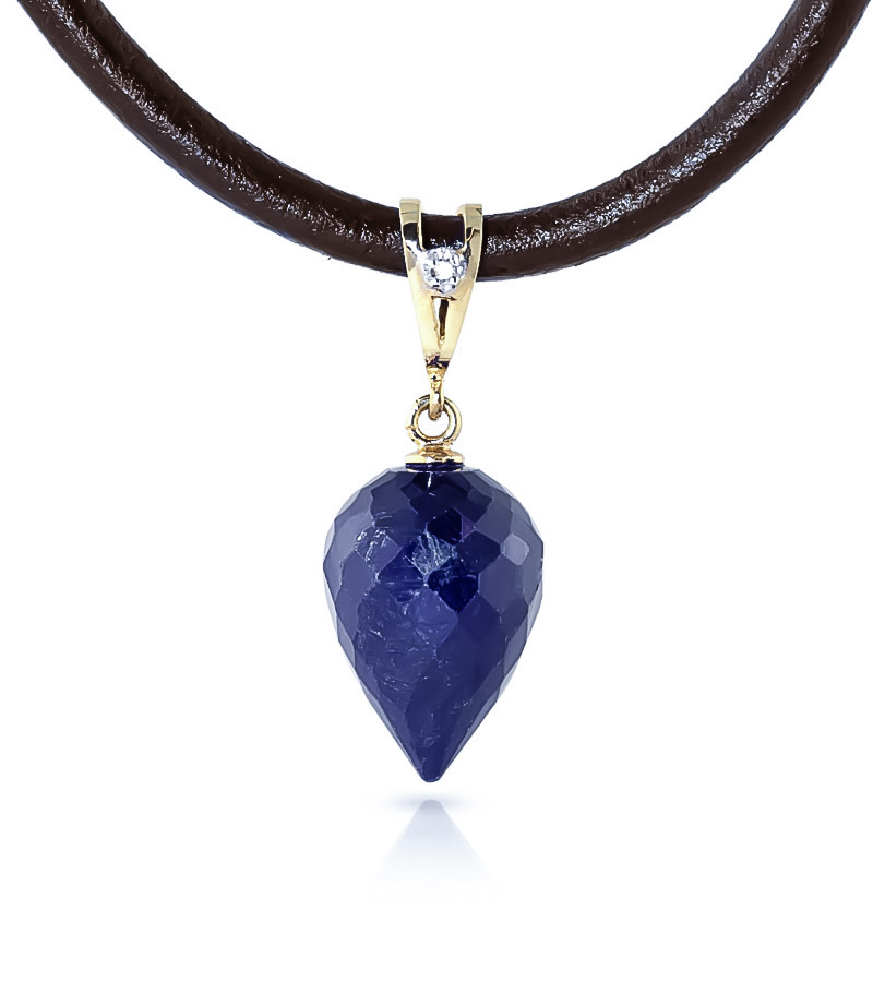 Sapphire and Diamond Leather Pendant Necklace 13.0ct in 9ct Gold