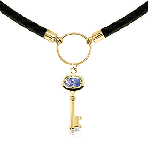 Tanzanite Key Charm Leather Pendant Necklace 0.5ct in 9ct Gold