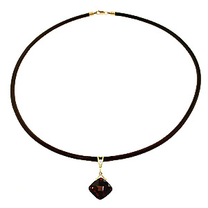 Garnet and Diamond Leather Pendant Necklace 8.75ct in 9ct Gold