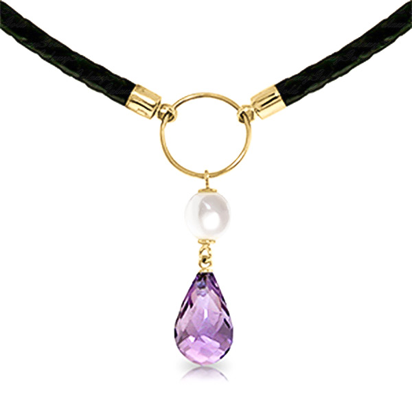 Amethyst And Pearl Leather Pendant Necklace 7.5ctw In 9ct Gold