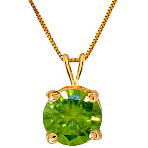 Round Brilliant Cut Green Diamond Pendant Necklace in 9ct Gold