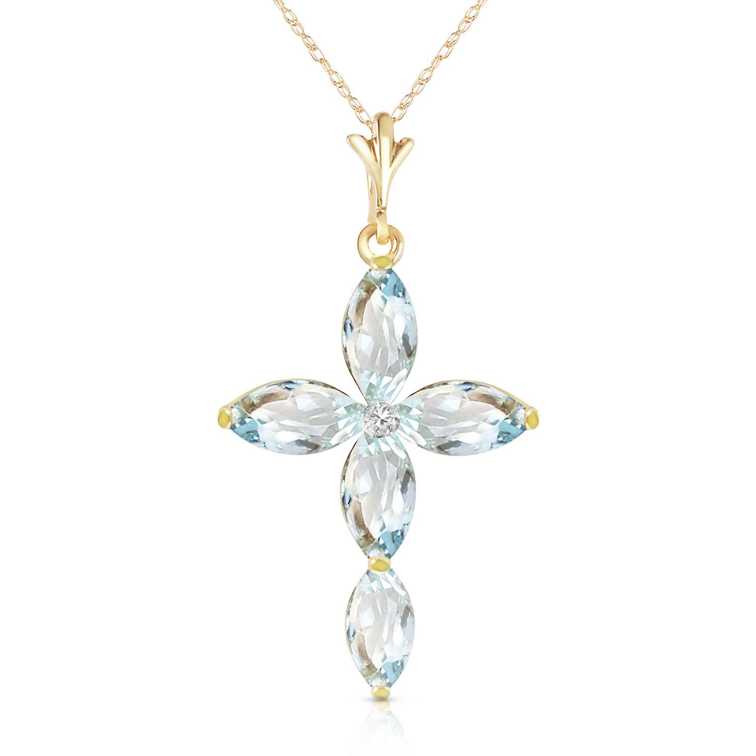 Aquamarine and Diamond Pendant Necklace 1.08ctw in 9ct Gold