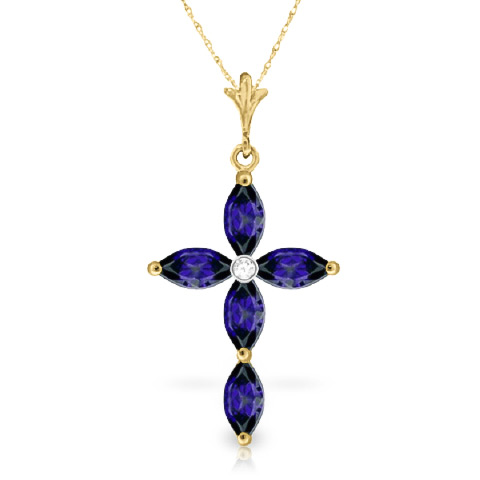 Sapphire and Diamond Pendant Necklace 1.08ctw in 9ct Gold