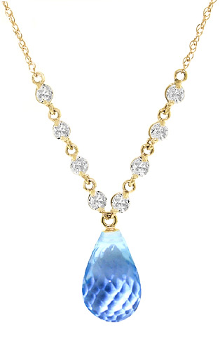 Blue Topaz and Diamond Pendant Necklace 10.5ct in 9ct Gold