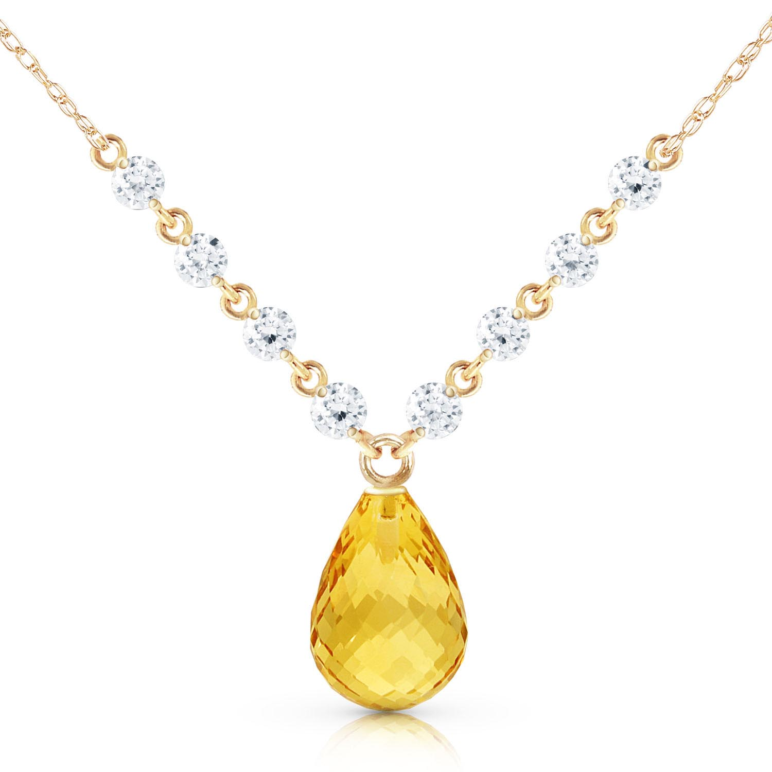 Citrine and Diamond Pendant Necklace 10.5ct in 9ct Gold