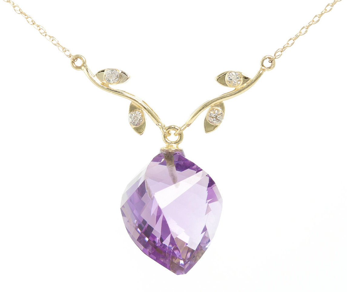 Amethyst and Diamond Pendant Necklace 10.75ct in 9ct Gold