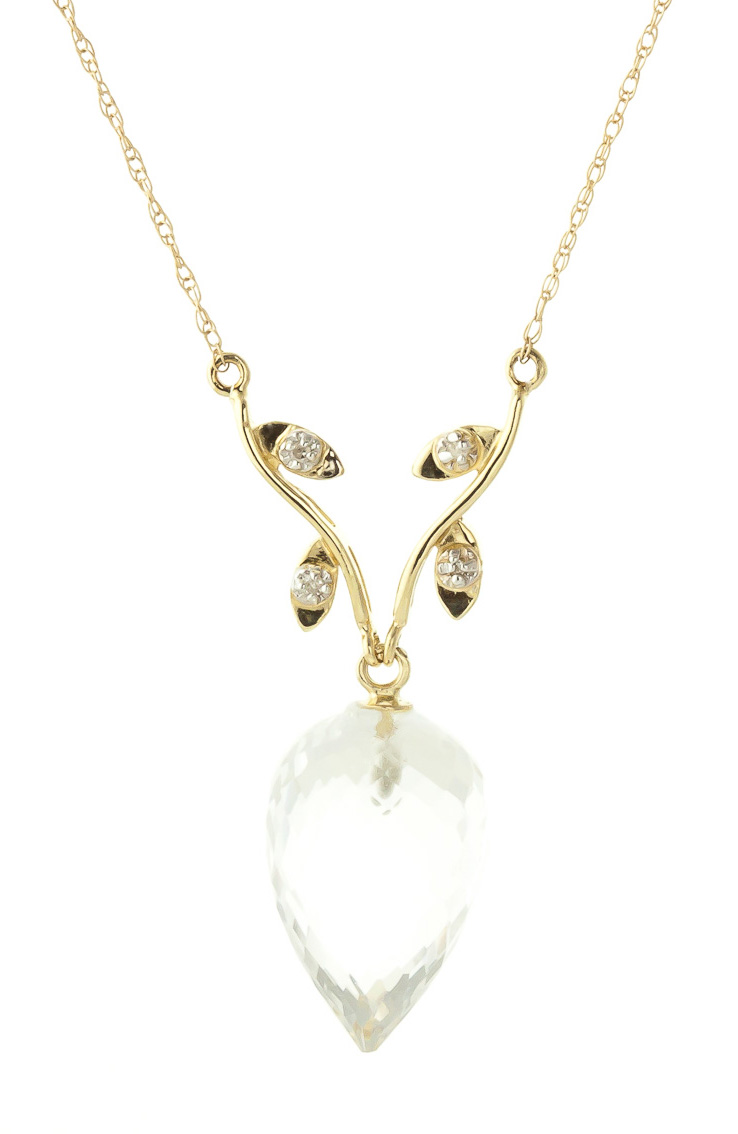 White Topaz and Diamond Pendant Necklace 12.25ct in 9ct Gold
