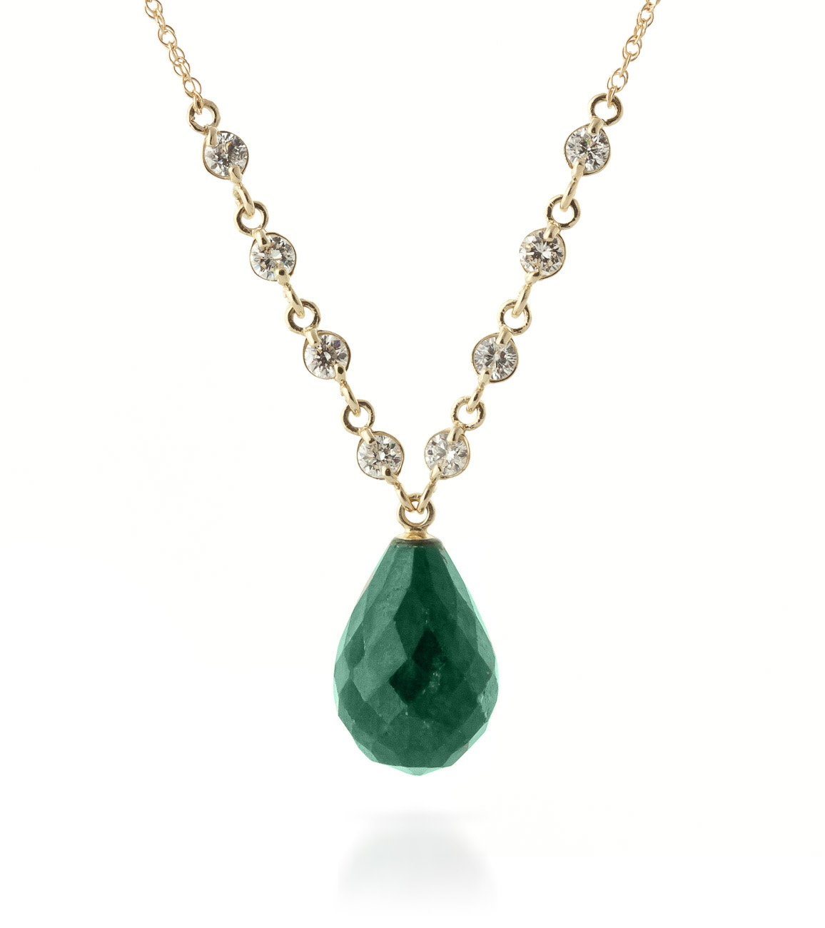 Emerald and Diamond Pendant Necklace 14.8ct in 9ct Gold