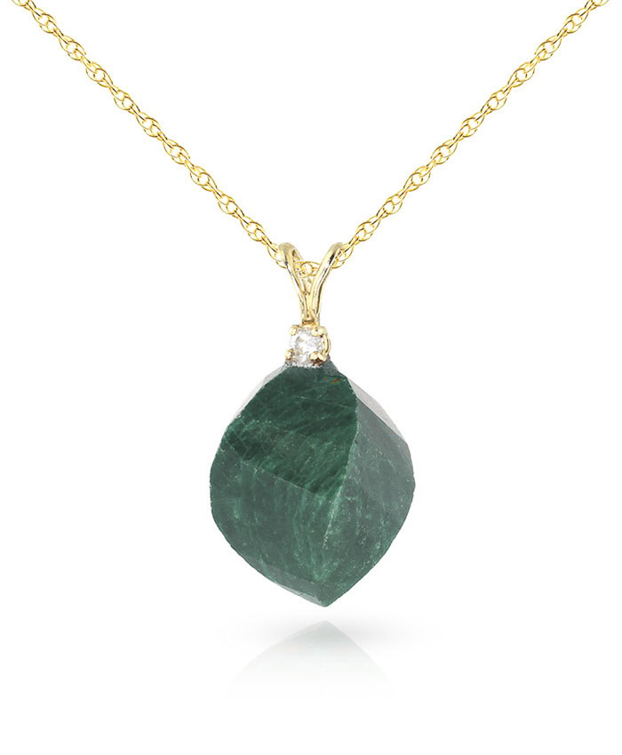 Emerald and Diamond Pendant Necklace 15.25ct in 9ct Gold