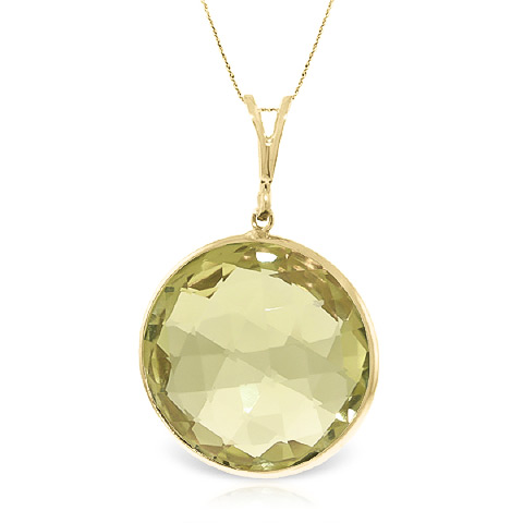 Round Brilliant Cut Lemon Quartz Pendant Necklace 17.0ctw in 9ct Gold
