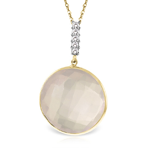 Rose Quartz and Diamond Pendant Necklace 17.0ct in 9ct Gold