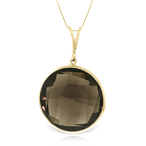 Round Brilliant Cut Smoky Quartz Pendant Necklace 17.0ctw in 9ct Gold