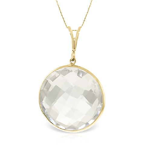 Round Brilliant Cut White Topaz Pendant Necklace 18.0ctw in 9ct Gold