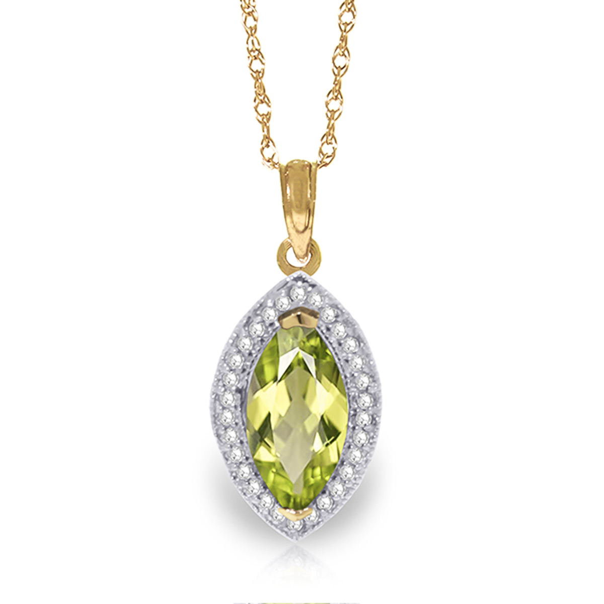 Peridot and Diamond Halo Pendant Necklace 2.0ct in 9ct Gold