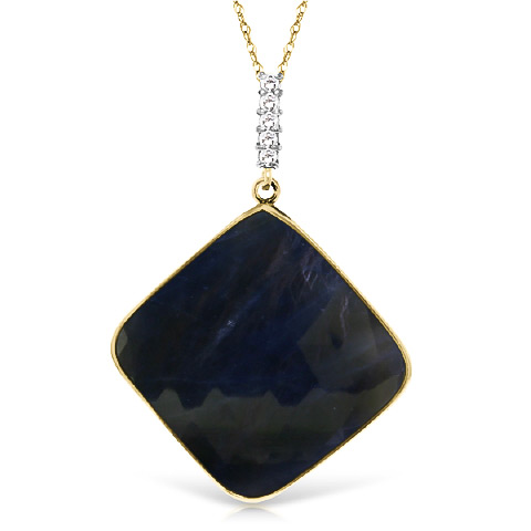 Sapphire and Diamond Pendant Necklace 21.75ct in 9ct Gold