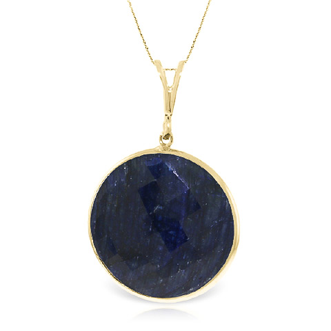 Round Brilliant Cut Sapphire Pendant Necklace 23.0ctw in 9ct Gold