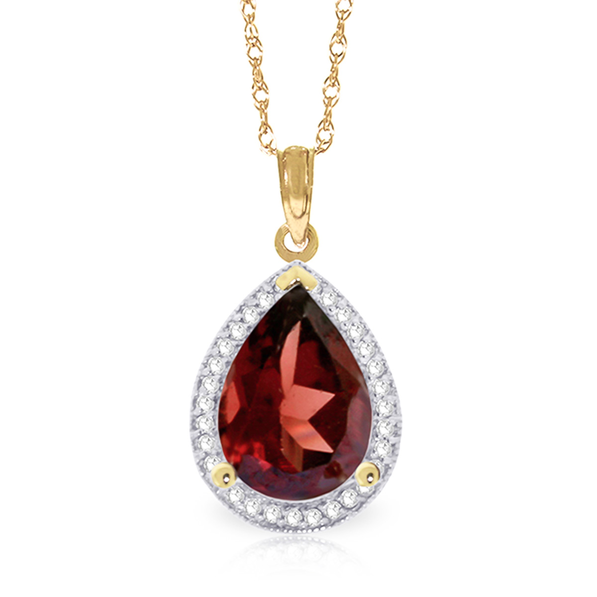 Garnet and Diamond Halo Pendant Necklace 3.9ct in 9ct Gold