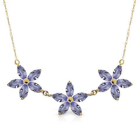 Marquise Cut Tanzanite Pendant Necklace 4.0ct in 9ct Gold