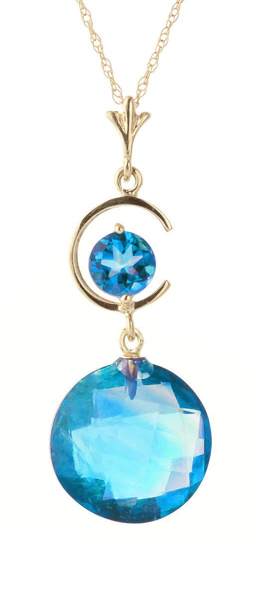 Round Brilliant Cut Blue Topaz Pendant Necklace 5.8ctw in 9ct Gold