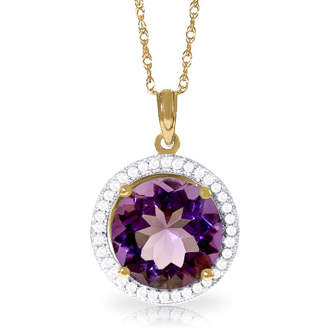 Amethyst and Diamond Halo Pendant Necklace 6.0ct in 9ct Gold
