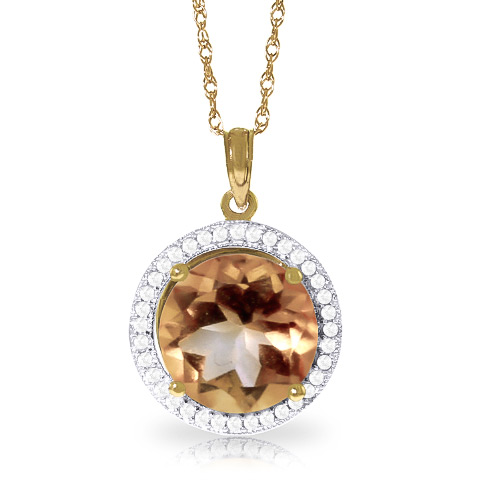 Citrine and Diamond Halo Pendant Necklace 6.0ct in 9ct Gold