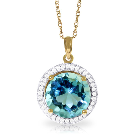 Blue Topaz and Diamond Halo Pendant Necklace 7.8ct in 9ct Gold