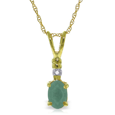 Emerald and Diamond Pendant Necklace 0.5ct in 9ct Gold