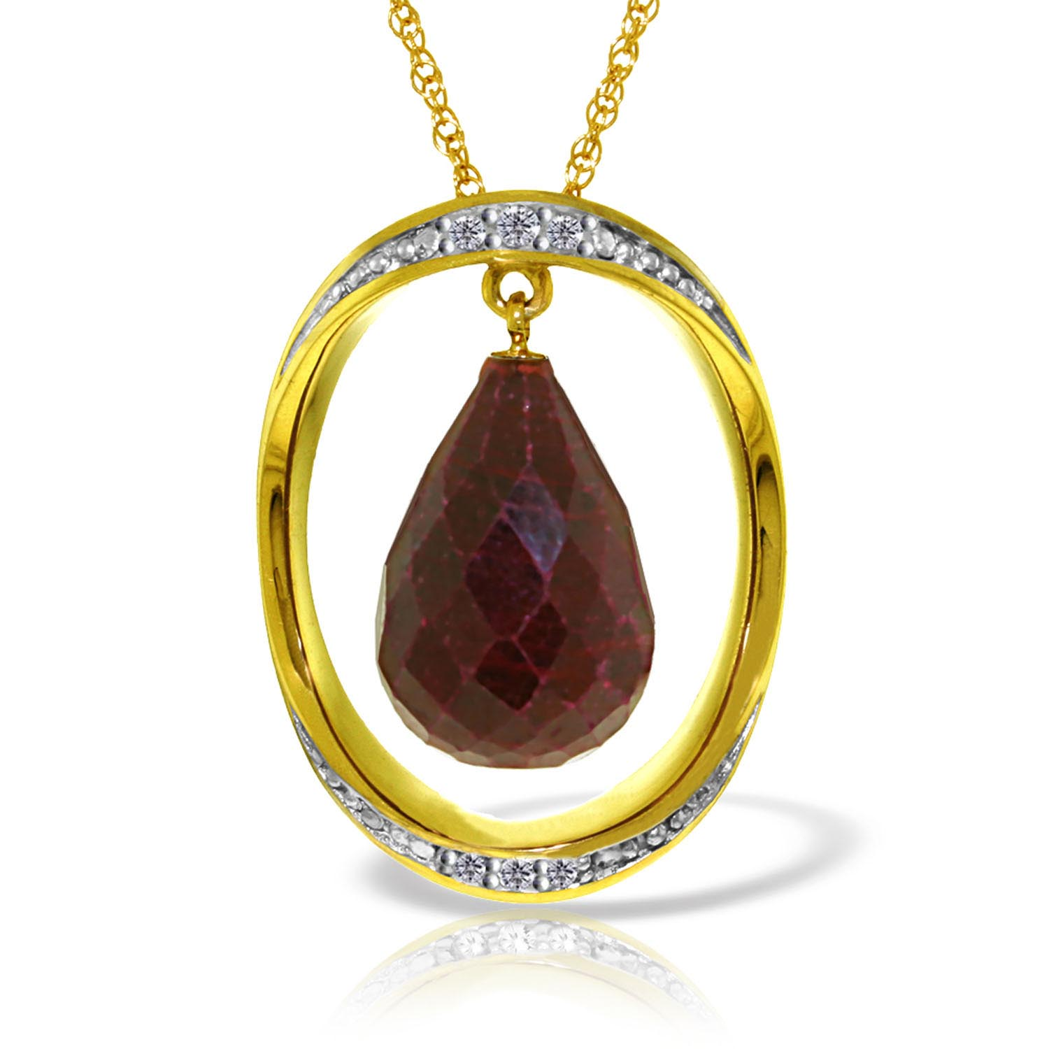 Ruby and Diamond Pendant Necklace 13.5ct in 9ct Gold