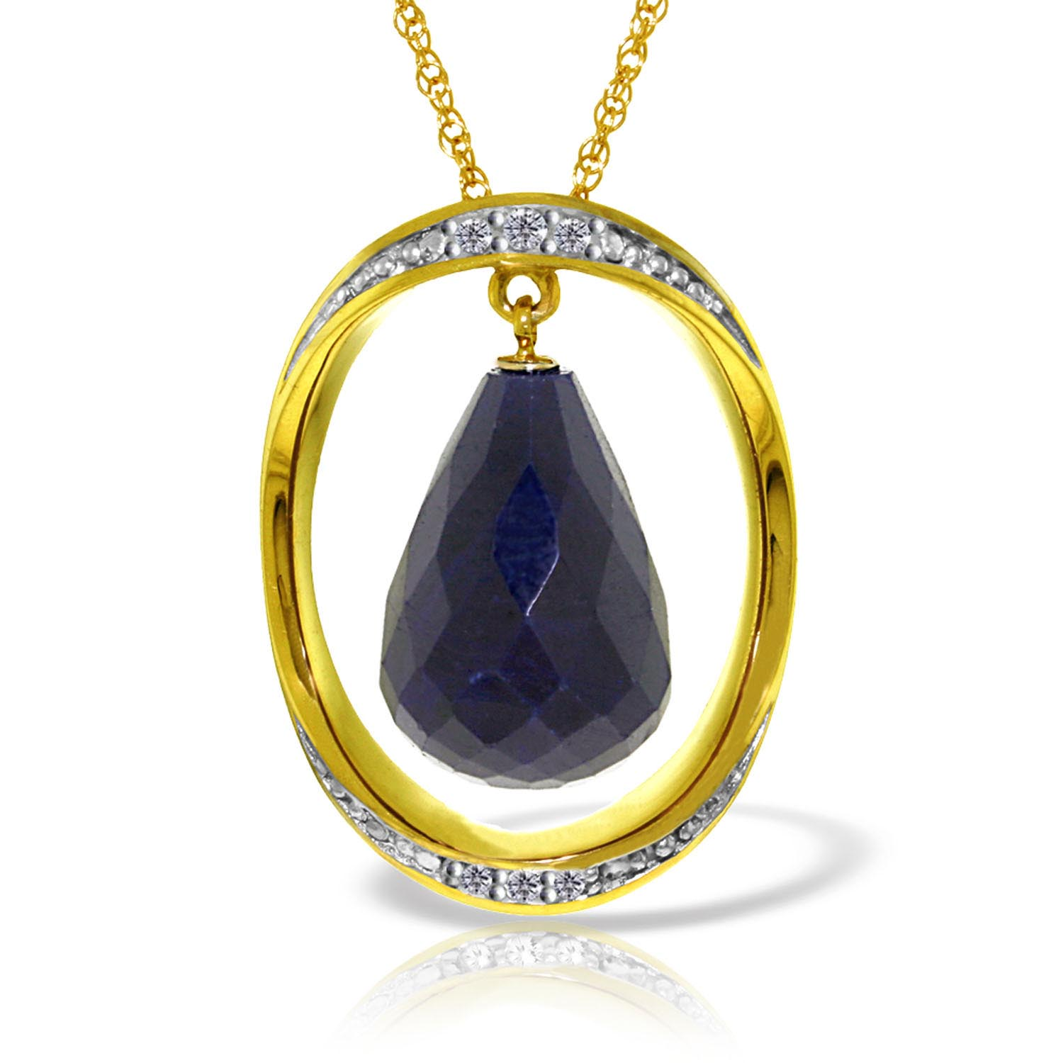 Sapphire and Diamond Pendant Necklace 13.5ct in 9ct Gold