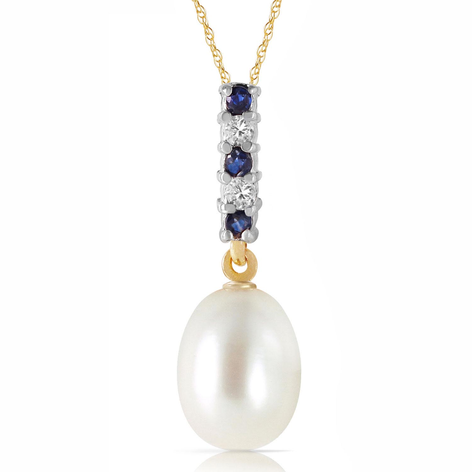 Pearl, Sapphire and Diamond Pendant Necklace 4.12ctw in 9ct Gold