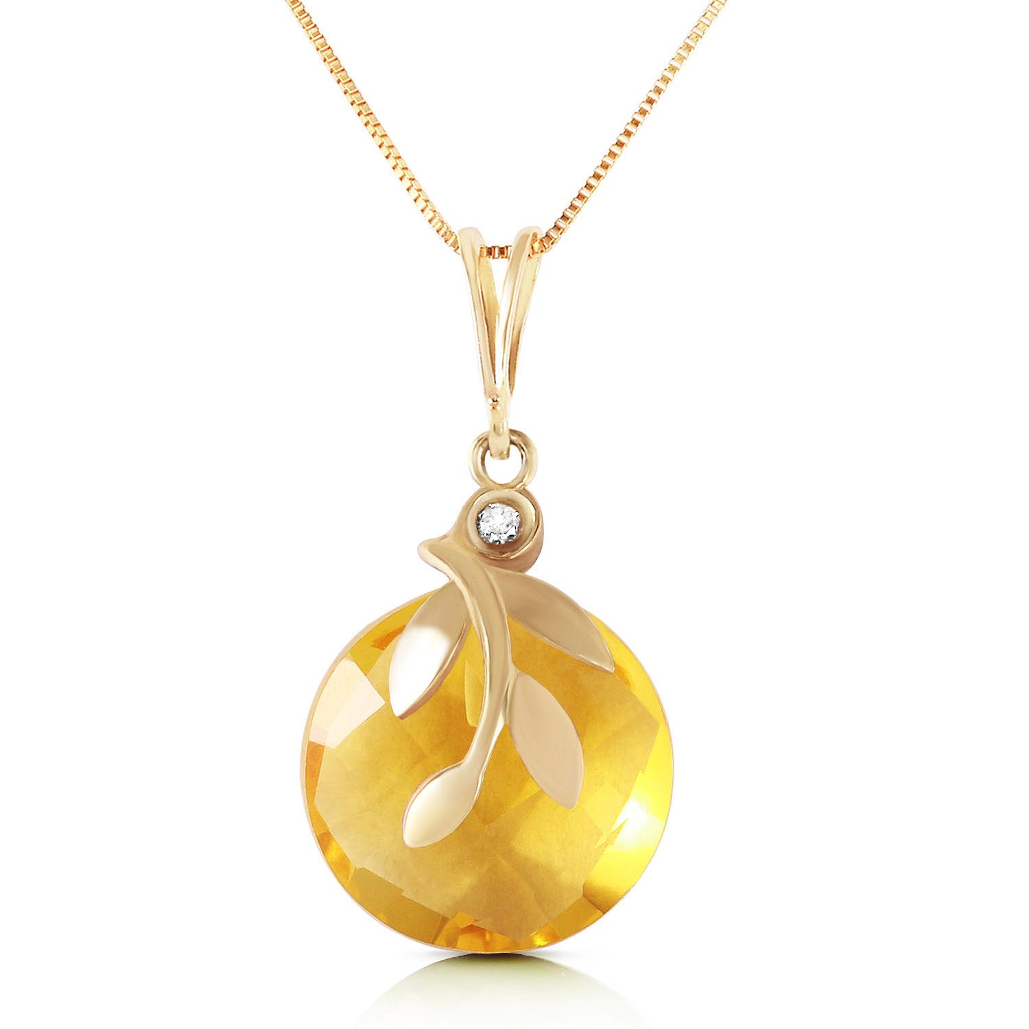 Citrine and Diamond Olive Leaf Chequer Pendant Necklace 5.3ct in 9ct Gold