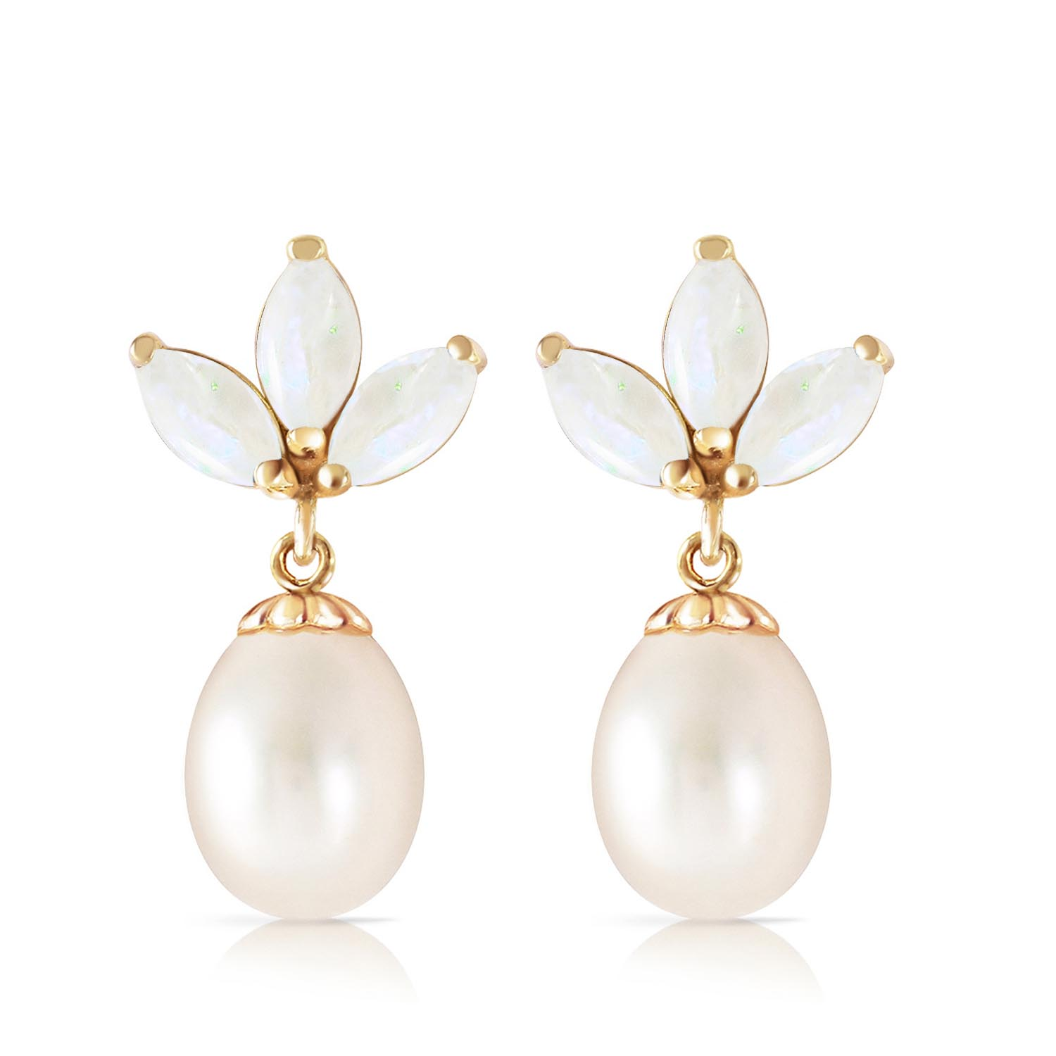 Pearl and Opal Petal Drop Earrings 9.5ctw in 9ct Gold