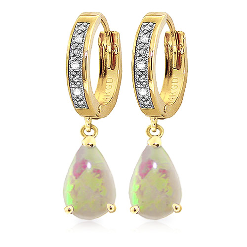 Diamond and Opal Droplet Huggie Earrings in 9ct Gold