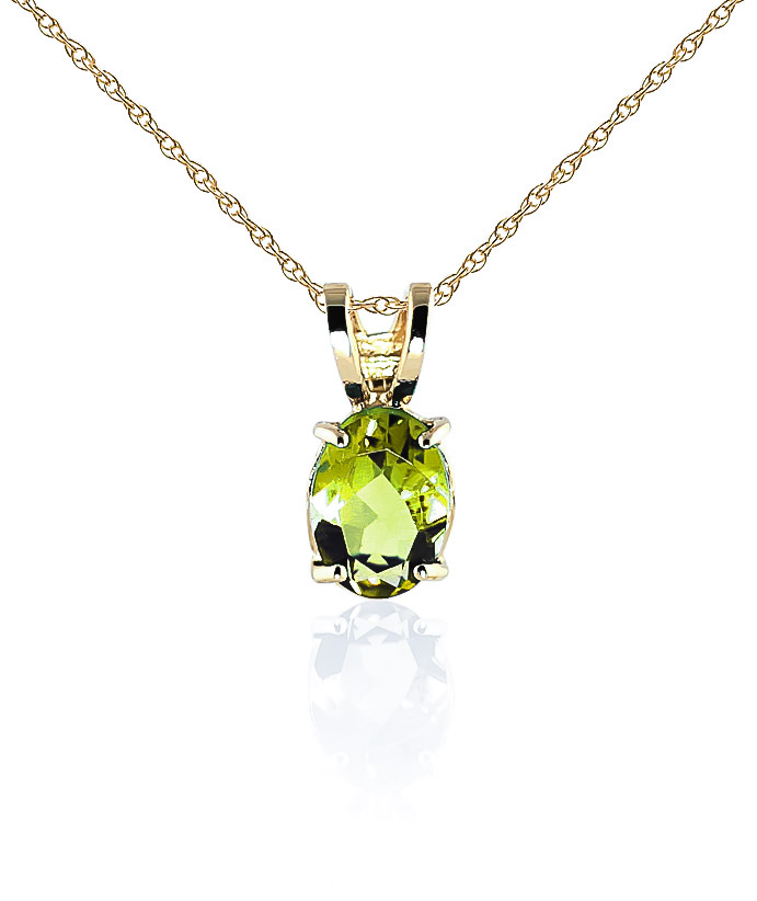 Oval Cut Peridot Pendant Necklace 0.85ct in 9ct Gold