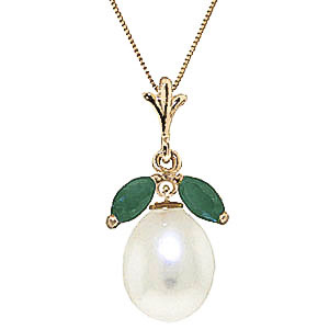 Pearl and Emerald Pendant Necklace 4.5ctw in 9ct Gold 3127Y