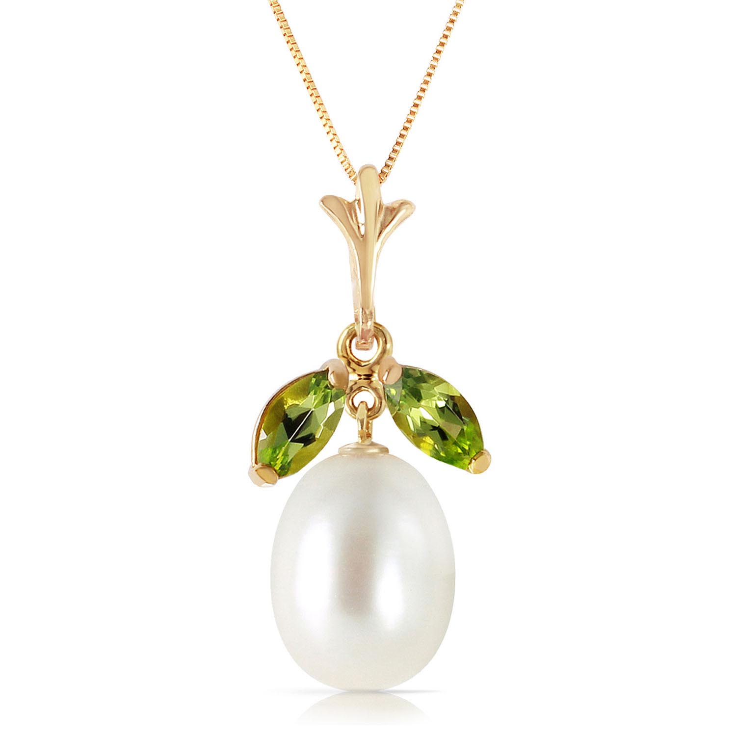 Pearl and Peridot Pendant Necklace 4.5ctw in 9ct Gold 3111Y