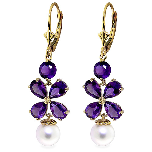 Amethyst and Pearl Blossom Drop Earrings 6.28ctw in 9ct Gold