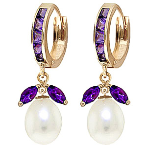 Amethyst and Pearl Dewdrop Huggie Earrings 10.3ctw in 9ct Gold
