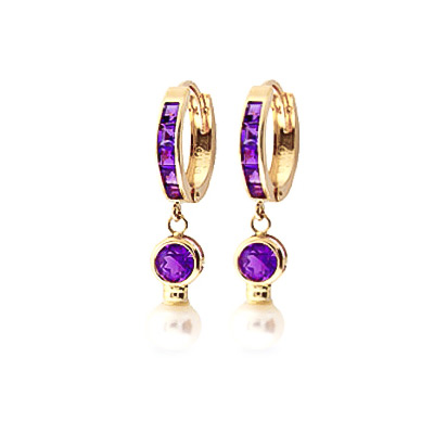 Amethyst and Pearl Huggie Earrings 4.15ctw in 9ct Gold