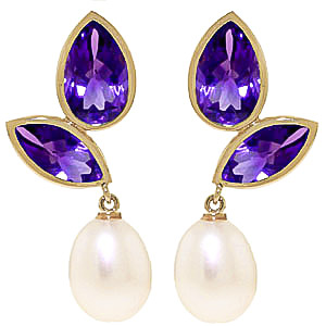 Amethyst and Pearl Petal Drop Earrings 16.0ctw in 9ct Gold
