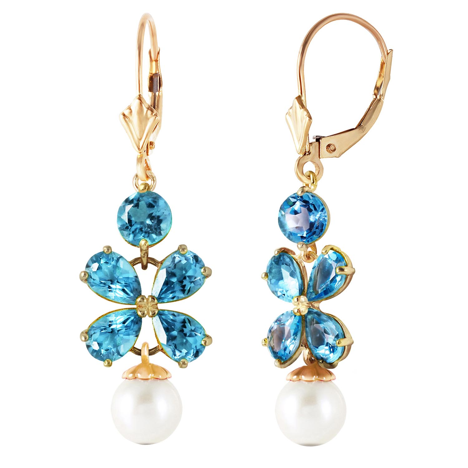 Blue Topaz and Pearl Blossom Drop Earrings 3.25ctw in 9ct Gold