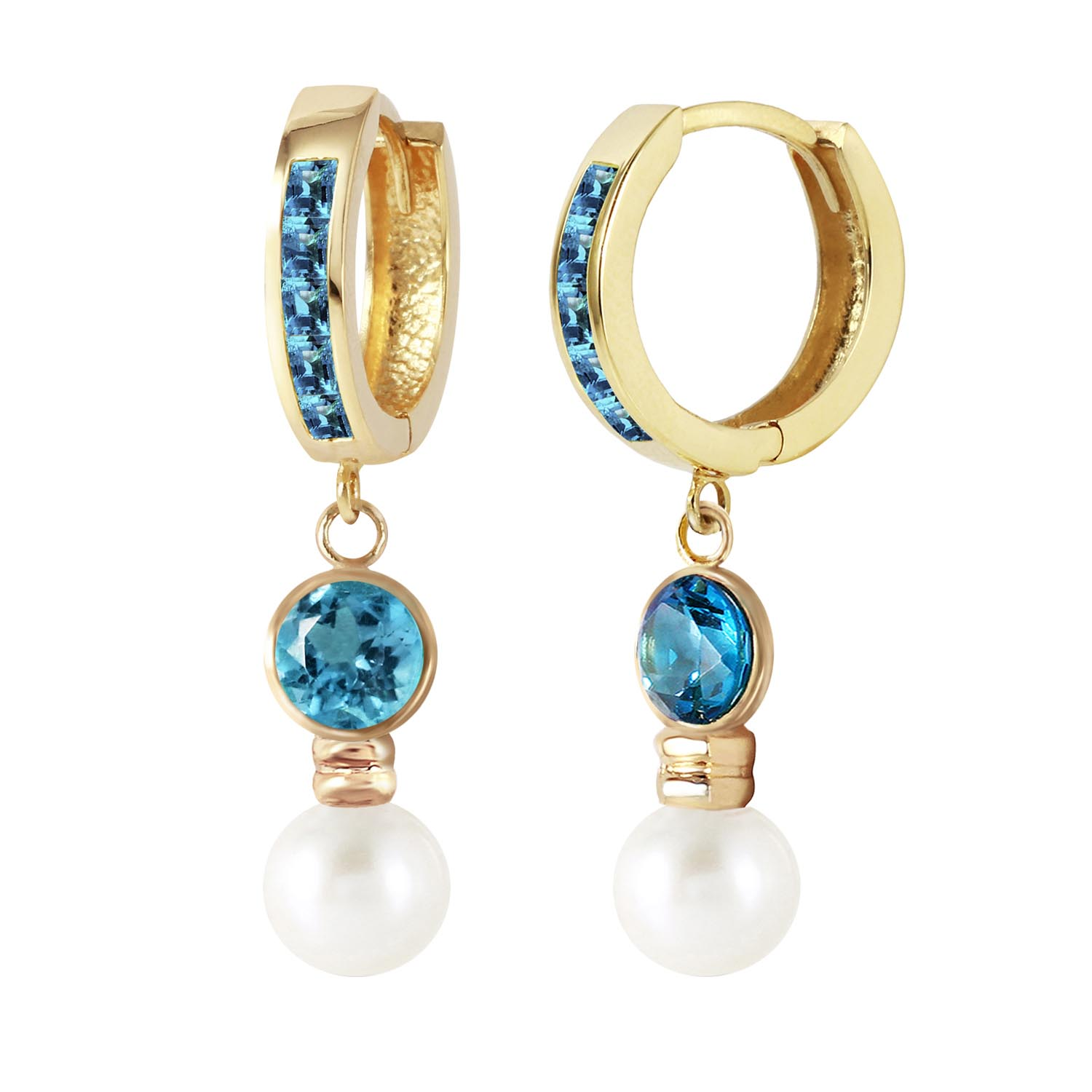 Blue Topaz and Pearl Huggie Earrings 4.3ctw in 9ct Gold