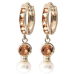 Citrine and Pearl Huggie Earrings 4.15ctw in 9ct Gold
