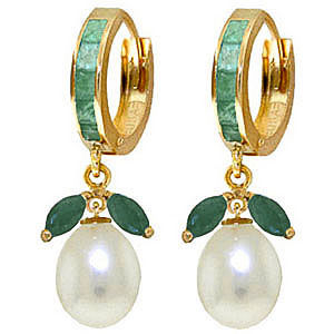 Emerald and Pearl Dewdrop Huggie Earrings 10.3ctw in 9ct Gold