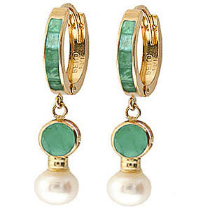 Emerald and Pearl Huggie Earrings 4.65ctw in 9ct Gold