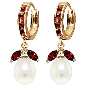 Garnet and Pearl Dewdrop Huggie Earrings 10.3ctw in 9ct Gold