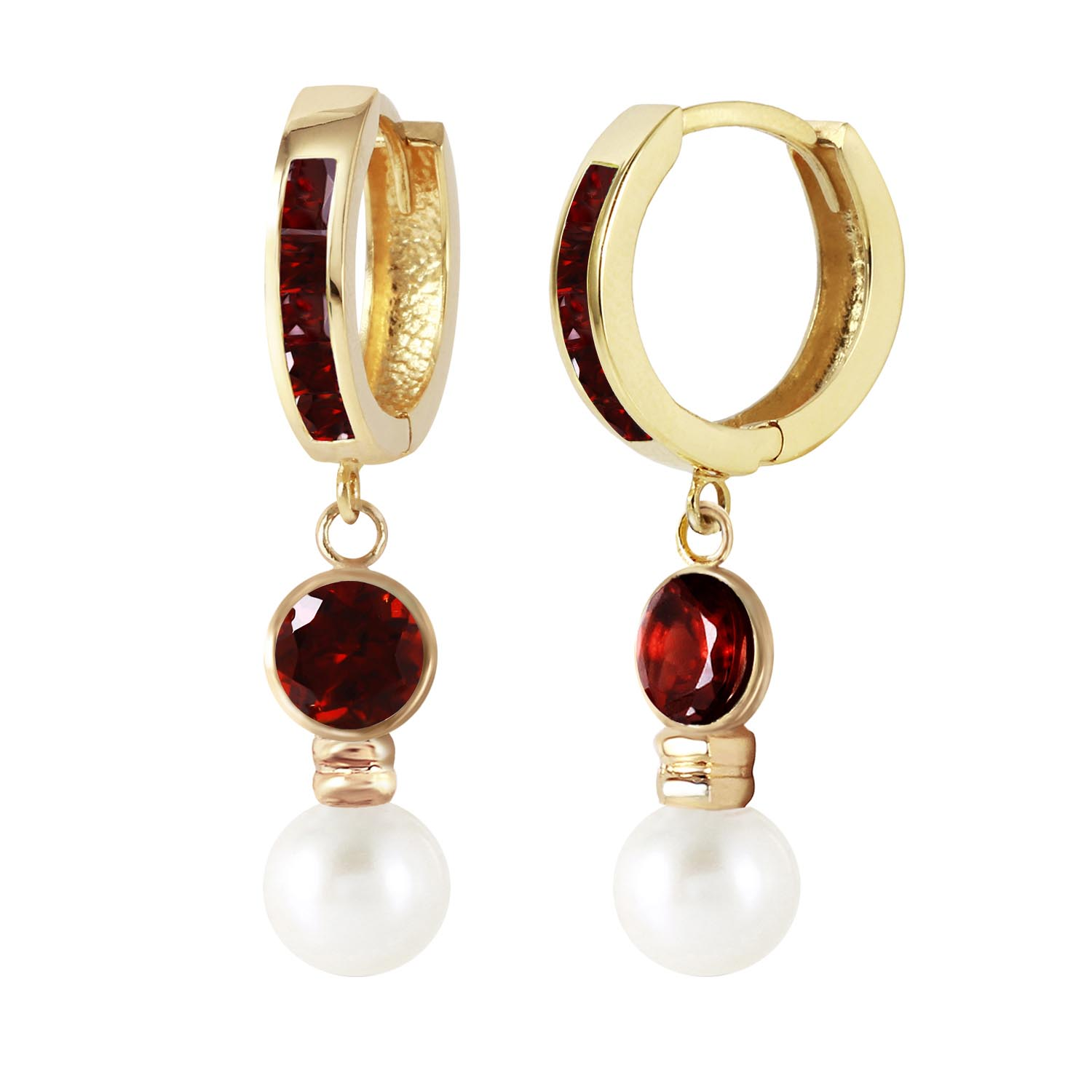 Garnet and Pearl Huggie Earrings 4.3ctw in 9ct Gold