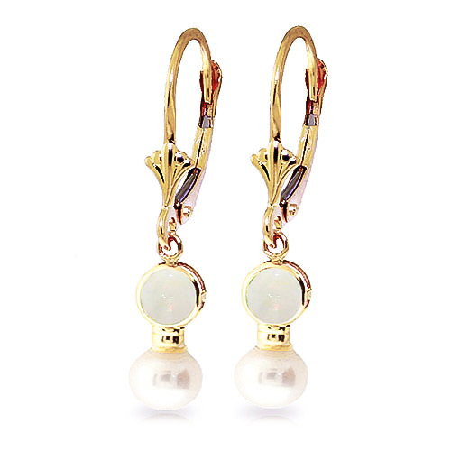 Opal and Pearl Drop Earrings 5.17ctw in 9ct Gold